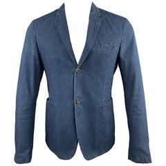 PRADA Size 38 Indigo Cotton Notch Lapel Sport Coat