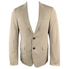 PRADA Size 38 Khaki Beige Cotton Blend Notch Lapel Sport Coat