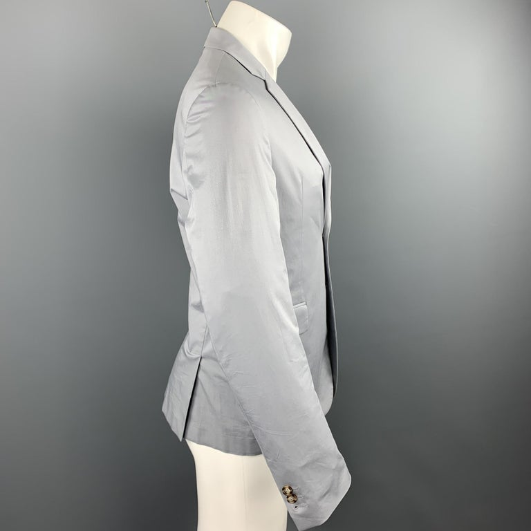 PRADA Size 38 Light Grey Solid Cotton Blend Notch Lapel Sport Coat In Excellent Condition For Sale In San Francisco, CA
