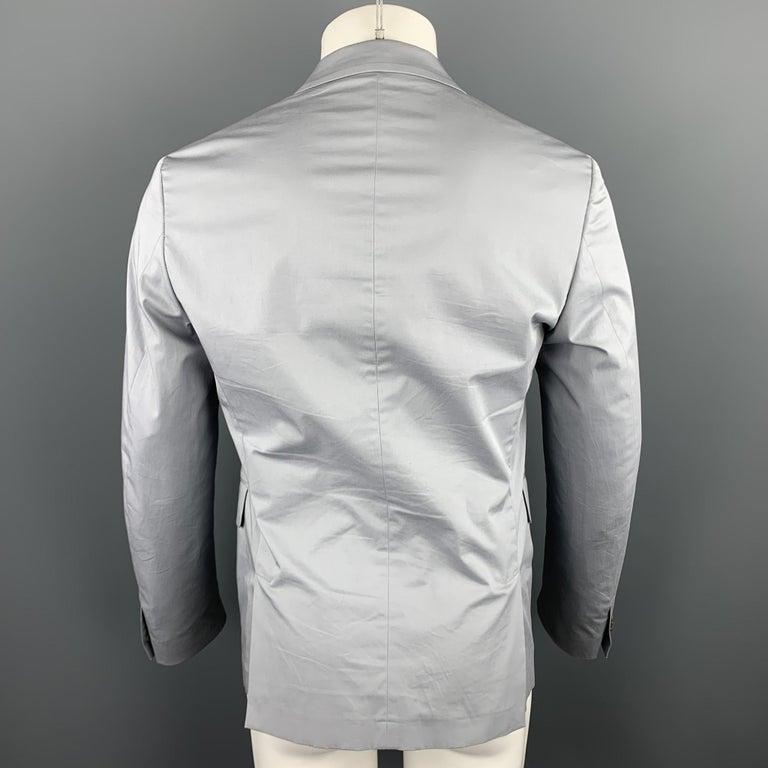 Men's PRADA Size 38 Light Grey Solid Cotton Blend Notch Lapel Sport Coat For Sale