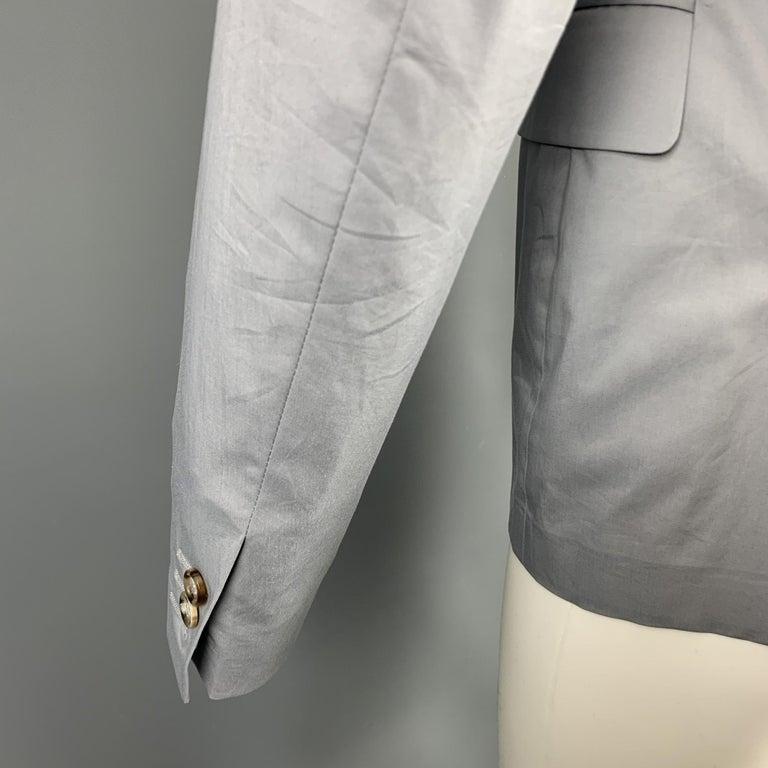 PRADA Size 38 Light Grey Solid Cotton Blend Notch Lapel Sport Coat For Sale 1