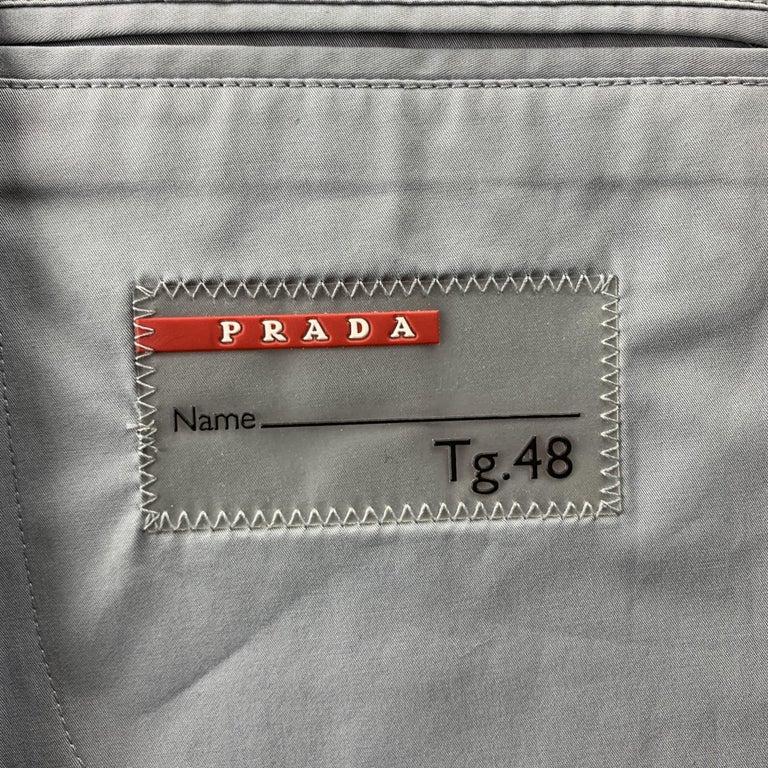 PRADA Size 38 Light Grey Solid Cotton Blend Notch Lapel Sport Coat For Sale 2