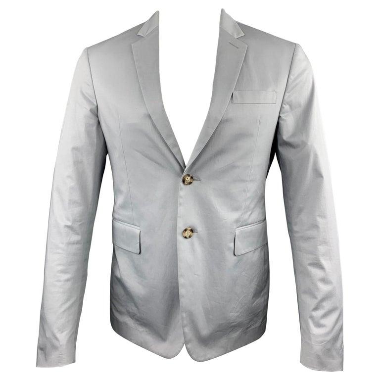 PRADA Size 38 Light Grey Solid Cotton Blend Notch Lapel Sport Coat For Sale
