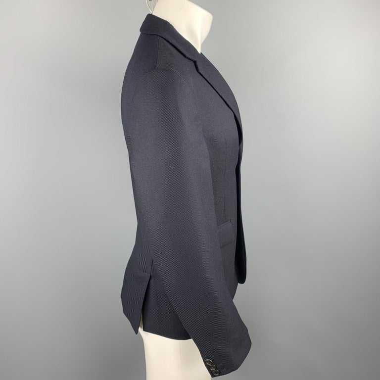 PRADA Size 38 Navy Textured Wool Notch Lapel Sport Coat In Excellent Condition For Sale In San Francisco, CA