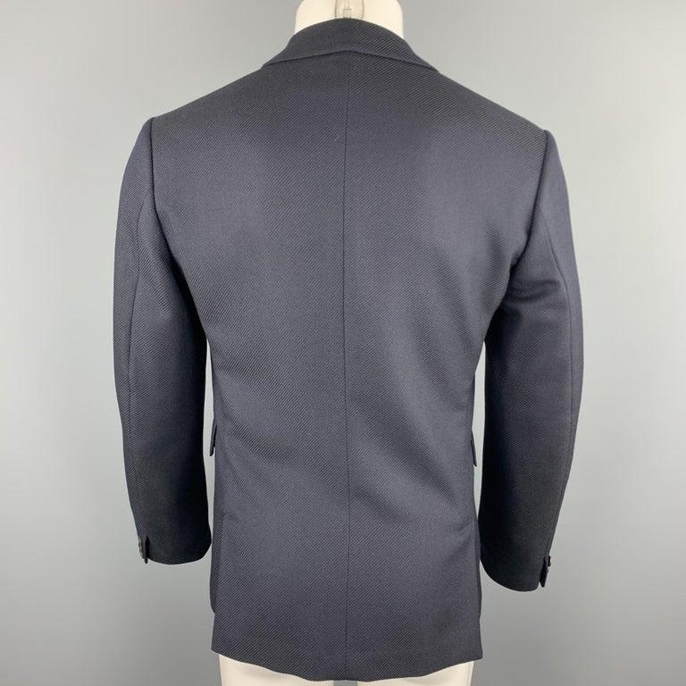 Men's PRADA Size 38 Navy Textured Wool Notch Lapel Sport Coat For Sale