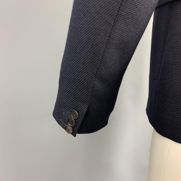 PRADA Size 38 Navy Textured Wool Notch Lapel Sport Coat For Sale 1