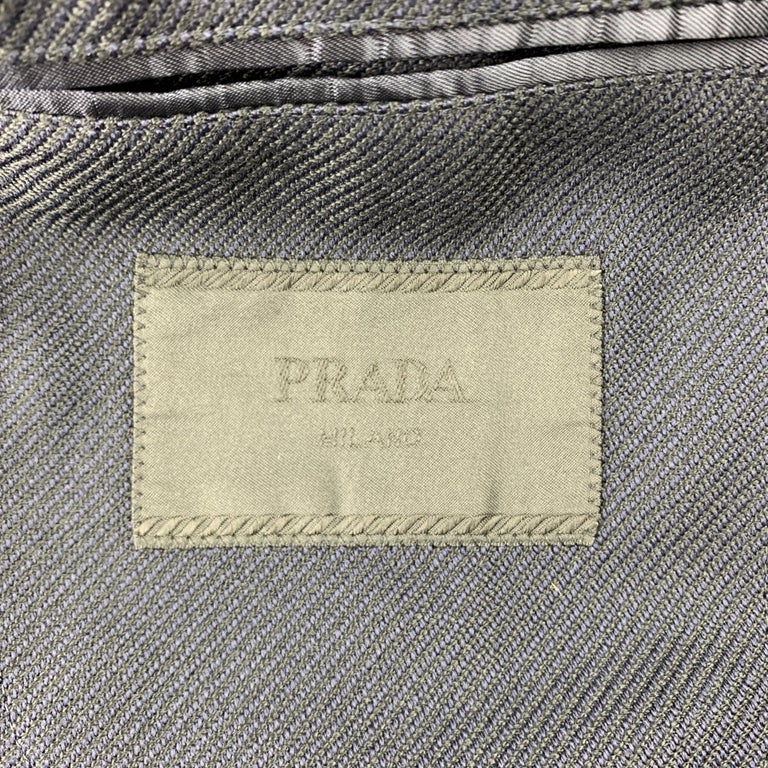 PRADA Size 38 Navy Textured Wool Notch Lapel Sport Coat For Sale 2