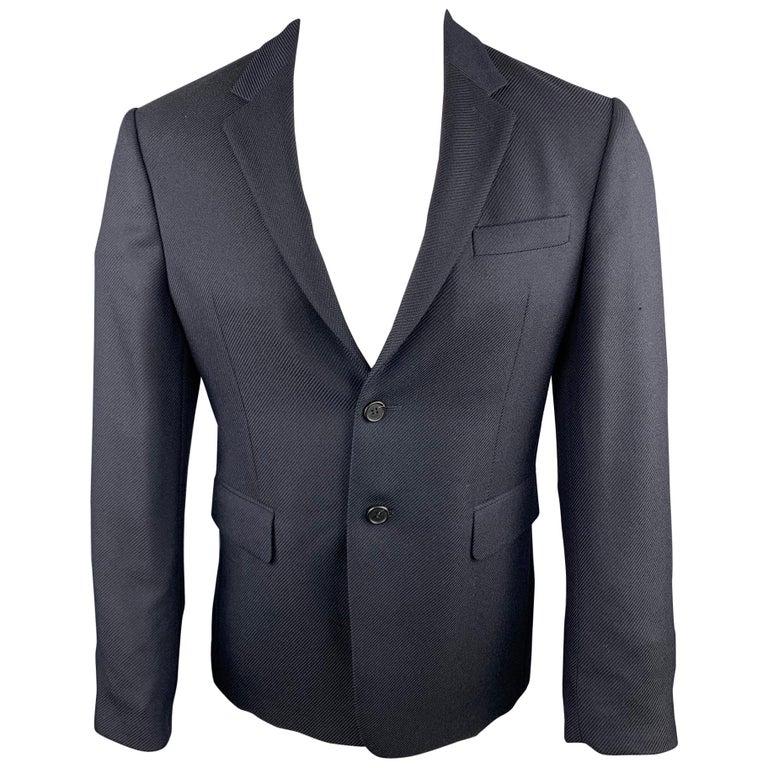 PRADA Size 38 Navy Textured Wool Notch Lapel Sport Coat For Sale