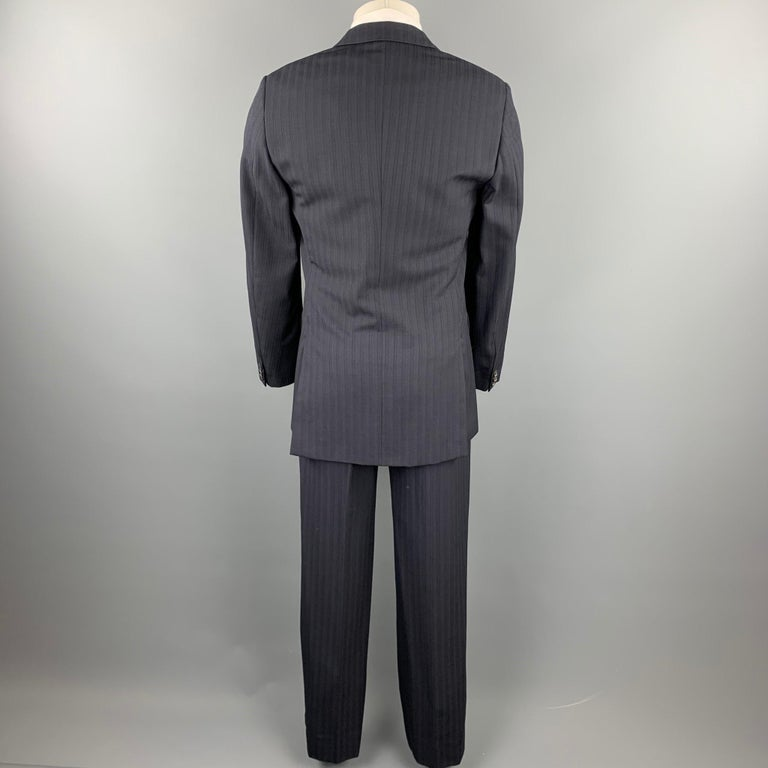 Black PRADA Size 38 Regular Navy Stripe Wool Blend Notch Lapel Suit For Sale
