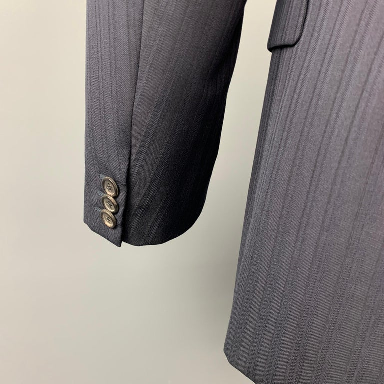 PRADA Size 38 Regular Navy Stripe Wool Blend Notch Lapel Suit In Good Condition For Sale In San Francisco, CA