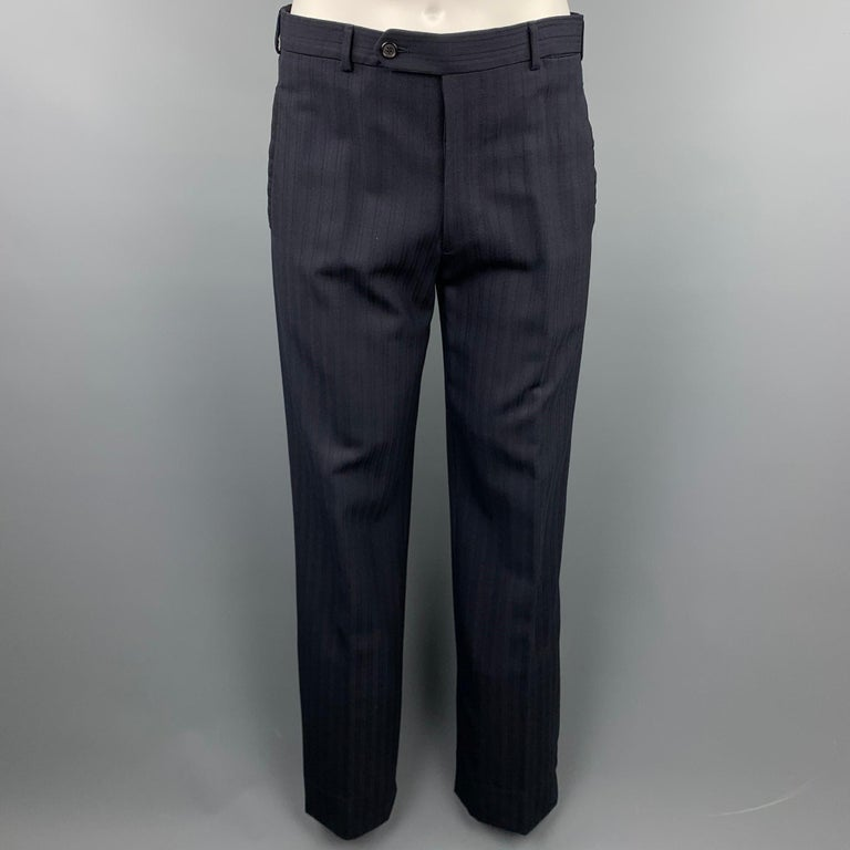 Men's PRADA Size 38 Regular Navy Stripe Wool Blend Notch Lapel Suit For Sale