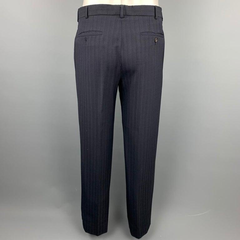 PRADA Size 38 Regular Navy Stripe Wool Blend Notch Lapel Suit For Sale 1