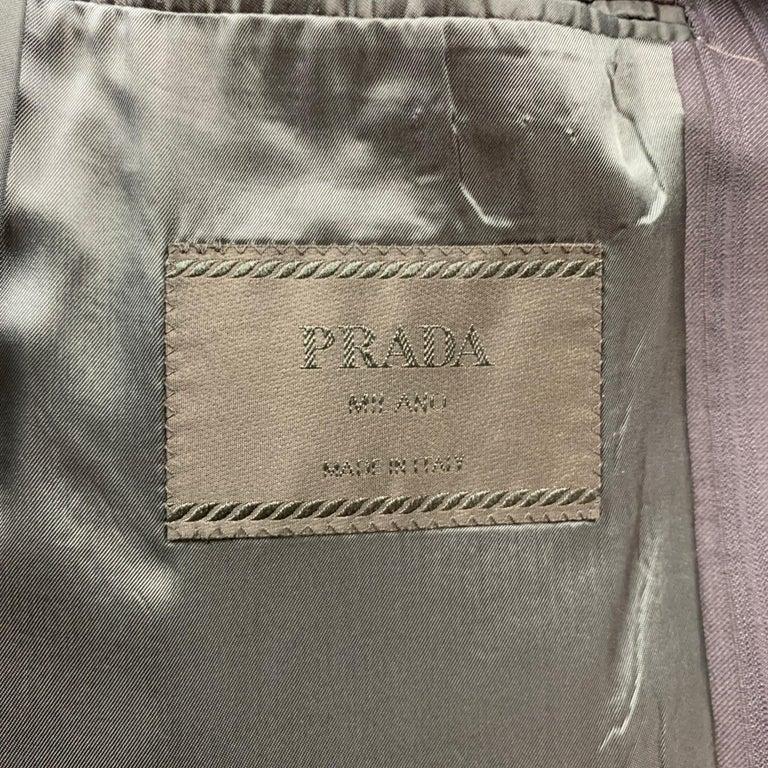 PRADA Size 38 Regular Navy Stripe Wool Blend Notch Lapel Suit For Sale 3