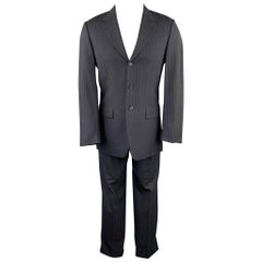 PRADA Size 38 Regular Navy Stripe Wool Blend Notch Lapel Suit