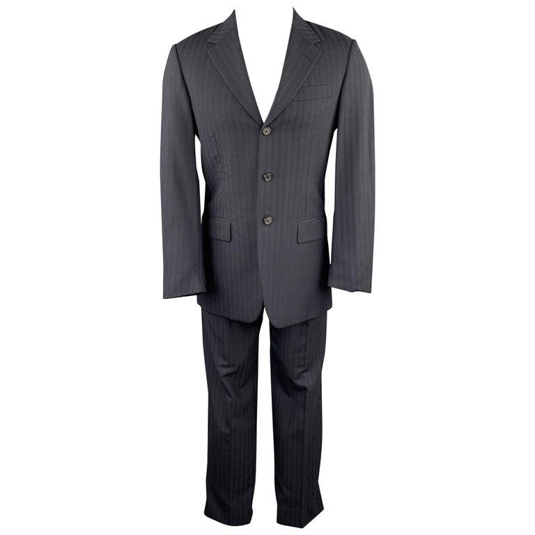 PRADA Size 38 Regular Navy Stripe Wool Blend Notch Lapel Suit For Sale