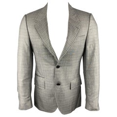 PRADA Size 38 Regular Plaid Grey Wool / Silk Notch Lapel Sport Coat
