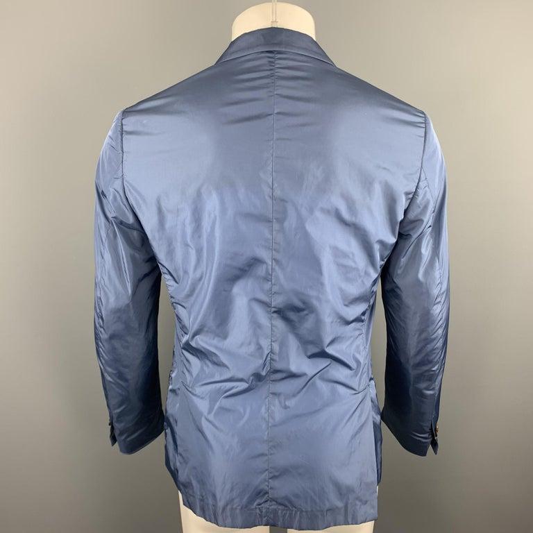 Men's PRADA Size 38 Steel Blue Polyester Notch Lapel Sport Coat For Sale