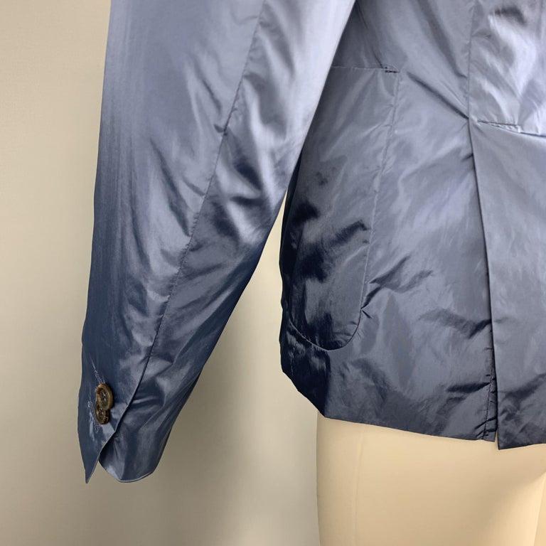 PRADA Size 38 Steel Blue Polyester Notch Lapel Sport Coat For Sale 1