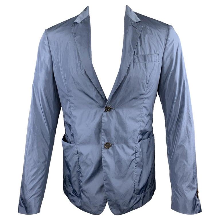 PRADA Size 38 Steel Blue Polyester Notch Lapel Sport Coat For Sale
