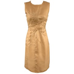 PRADA Size 4 Beige Woven Silk Top Stitch Bow Motif Sleeveless Sheath Dress