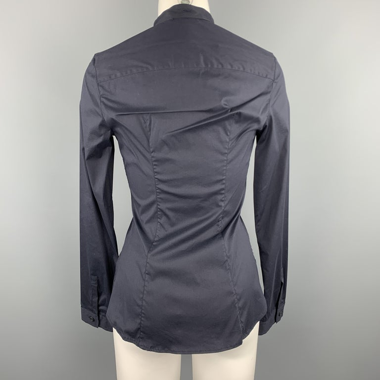 Women's PRADA Size 4 Navy Stretch Cotton Band Collar Shirt For Sale