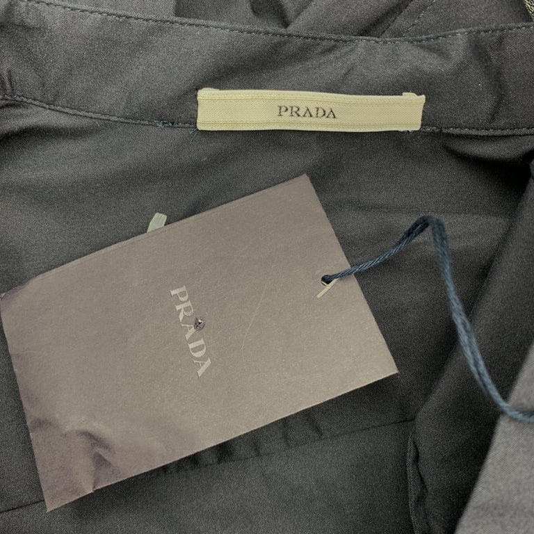 PRADA Size 4 Navy Stretch Cotton Band Collar Shirt For Sale 1
