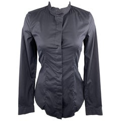 PRADA Size 4 Navy Stretch Cotton Band Collar Shirt