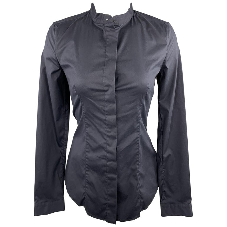 PRADA Size 4 Navy Stretch Cotton Band Collar Shirt For Sale