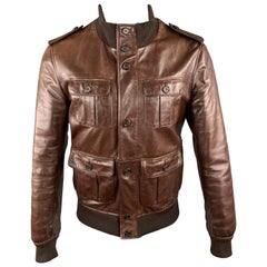 PRADA Size 40 Brown Leather High Collar Epaullettes Zip & Buttons Patch Po