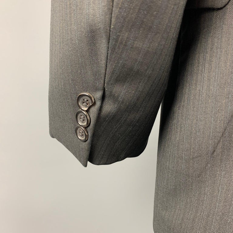 PRADA Size 40 Charcoal Stripe Virgin Wool Notch Lapel Suit In Excellent Condition For Sale In San Francisco, CA