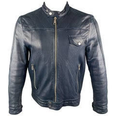 PRADA Size 40 Navy Quilted Leather Zip Up Motorcycle Jacket