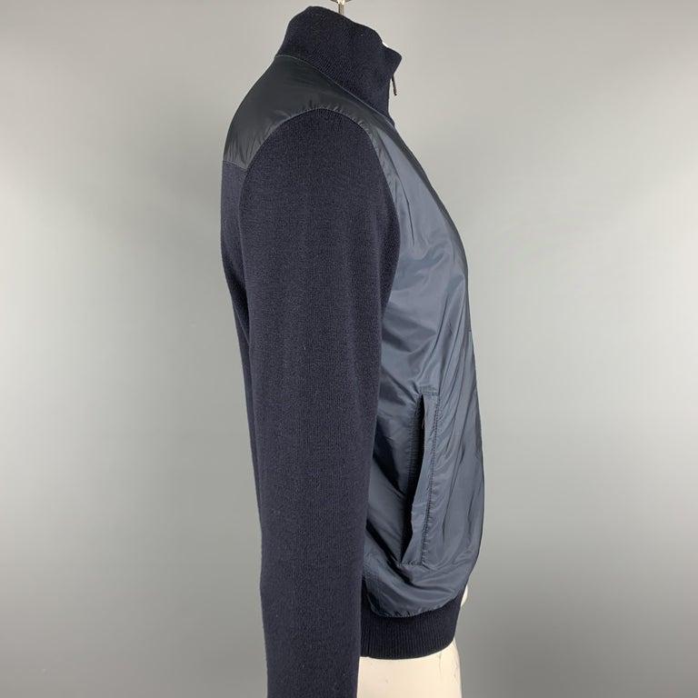 Black PRADA Size 42 Navy Nylon & Wool Zip Up High Collar Jacket For Sale