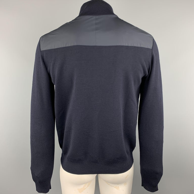 PRADA Size 42 Navy Nylon & Wool Zip Up High Collar Jacket In Good Condition For Sale In San Francisco, CA