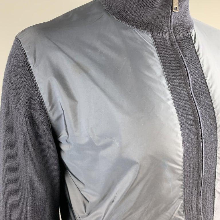 Men's PRADA Size 42 Navy Nylon & Wool Zip Up High Collar Jacket For Sale