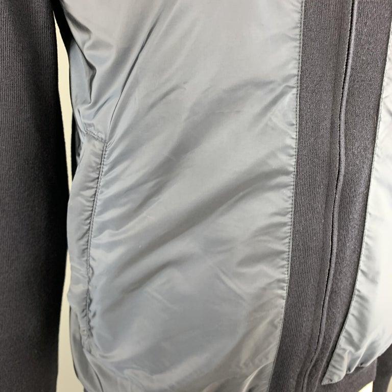 PRADA Size 42 Navy Nylon & Wool Zip Up High Collar Jacket For Sale 1