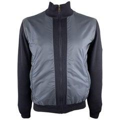 PRADA Size 42 Navy Nylon & Wool Zip Up High Collar Jacket