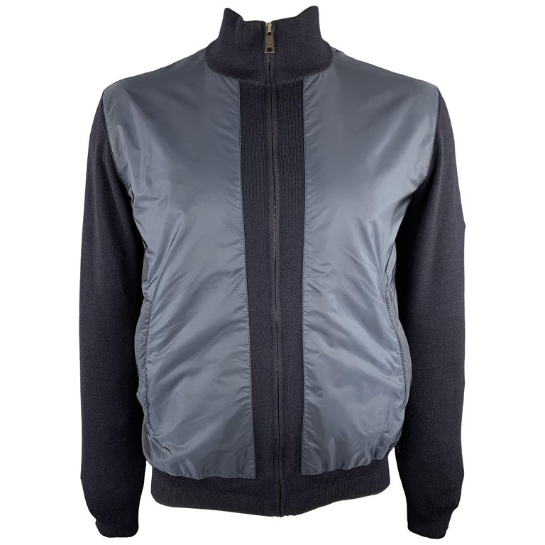 PRADA Size 42 Navy Nylon & Wool Zip Up High Collar Jacket For Sale