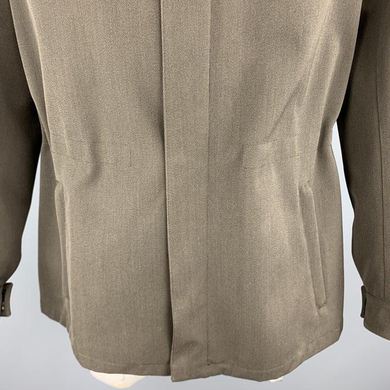 Gray PRADA Size 44 Olive Wool Blend Elastic Waist High Collar Jacket For Sale