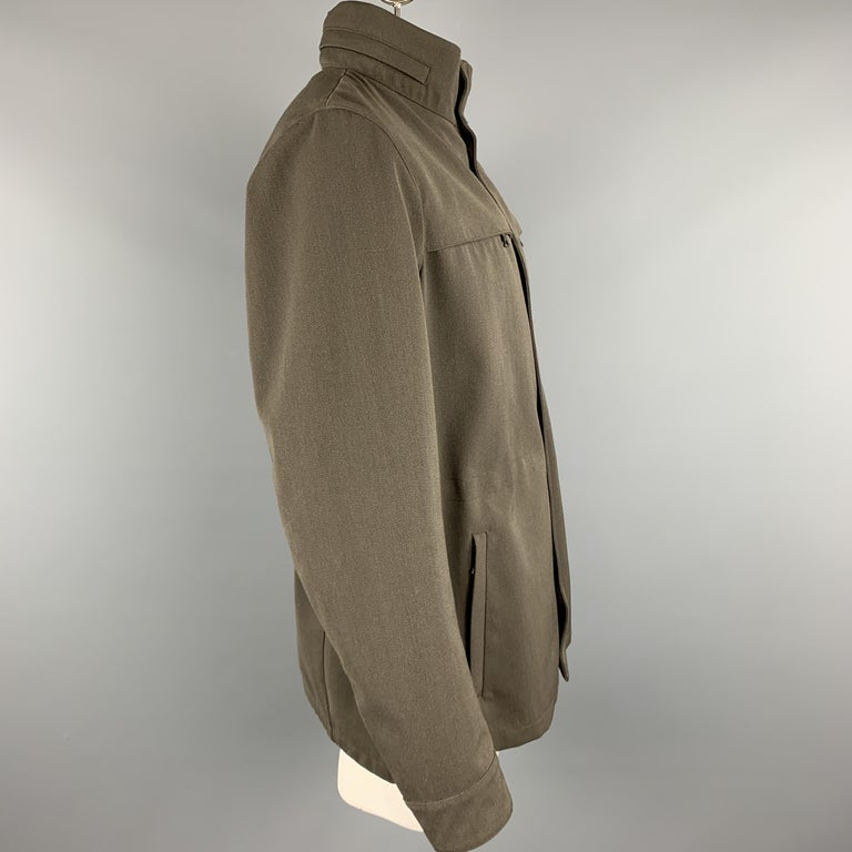PRADA Size 44 Olive Wool Blend Elastic Waist High Collar Jacket In Excellent Condition For Sale In San Francisco, CA