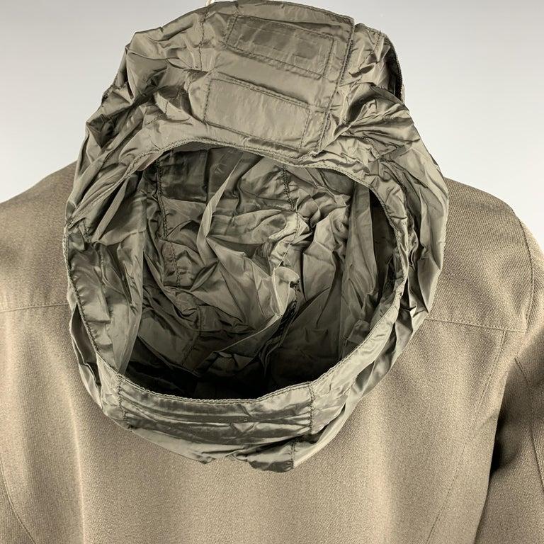 PRADA Size 44 Olive Wool Blend Elastic Waist High Collar Jacket For Sale 1