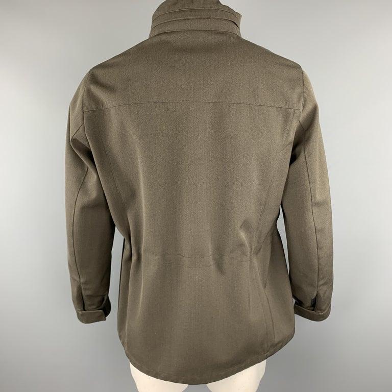 PRADA Size 44 Olive Wool Blend Elastic Waist High Collar Jacket For Sale 2