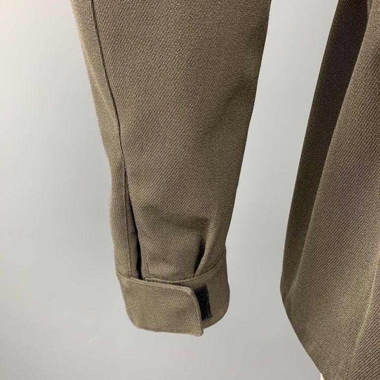 PRADA Size 44 Olive Wool Blend Elastic Waist High Collar Jacket For Sale 3