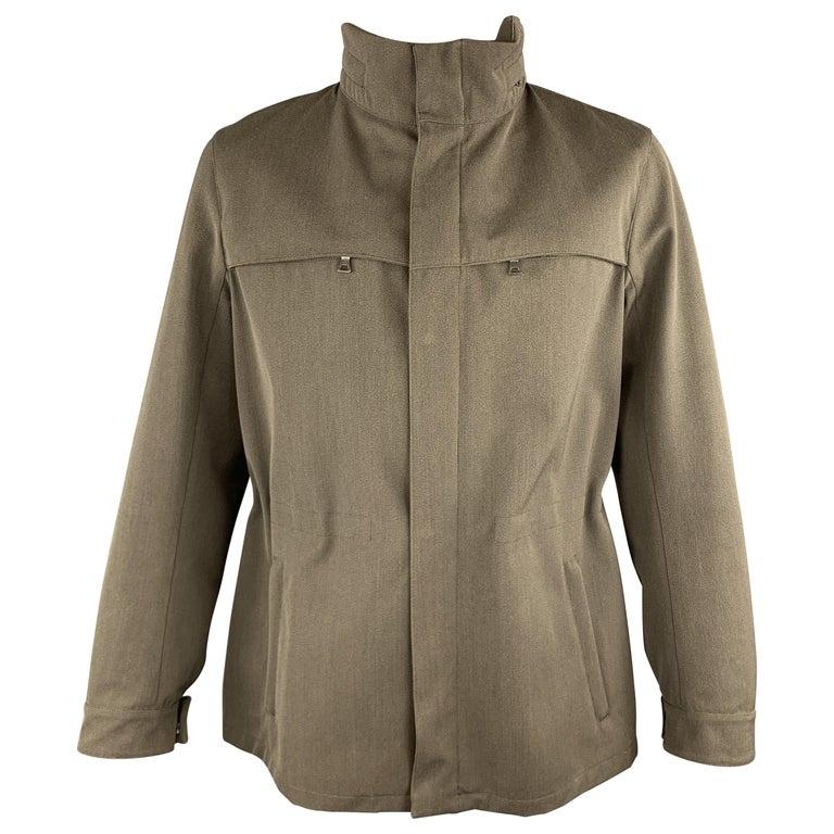 PRADA Size 44 Olive Wool Blend Elastic Waist High Collar Jacket For Sale