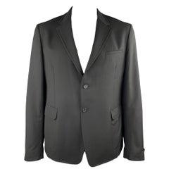 PRADA Size 46 Black Woven Wool Notch Lapel Sport Coat