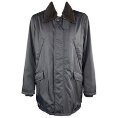 PRADA Size 46 Navy Nylon Hidden Placket Brown Lamb Shearling Collar Coat