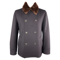 PRADA Size 46 Navy Wool Double Breasted Brown Fur Collar Peacoat