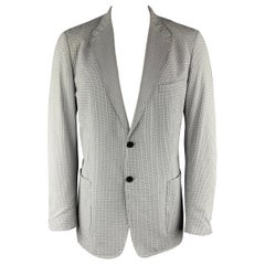 PRADA Size 46 Plaid Blue Cotton Blend Notch Lapel Regular Sport Coat
