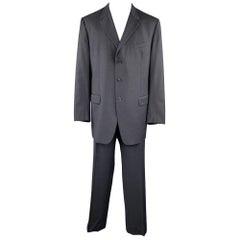 PRADA Size 48 Long Navy Wool Notch Lapel Suit