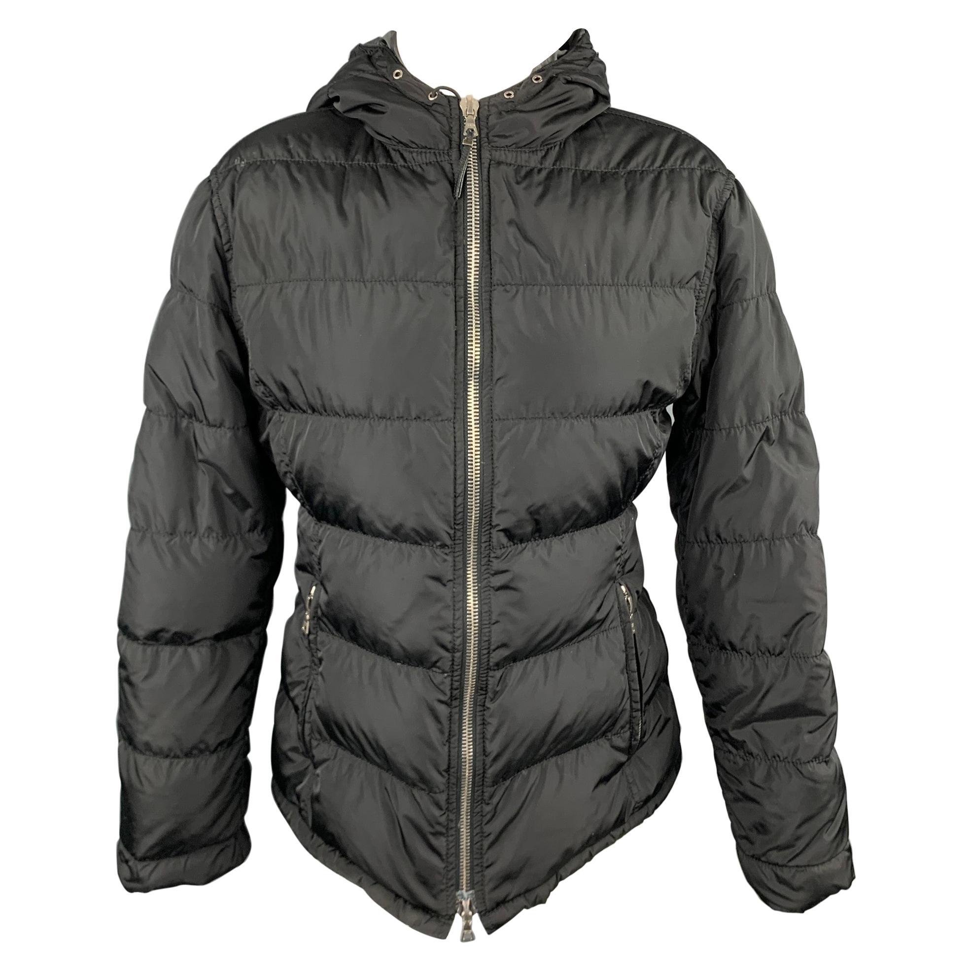 PRADA Size 6 Black Quilted Nylon Hooded Jacket