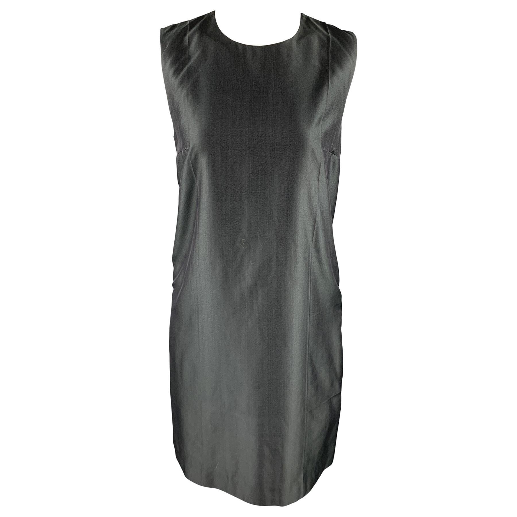PRADA Size 6 Gray Silk Sleeveless Shift Dress